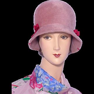 Vintage 1960s Cloche Style Hat by Dana Marte Rose Fur Felt