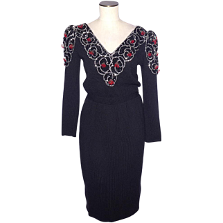 Vintage 1980s Black Knit Cocktail Dress by Don Sayres for Wellmore Beads and Sequins Galore