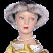 1990s Mr John Jr Black Wool Hat Trimmed With Genuine Cross Mink Fur