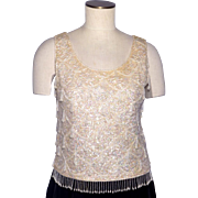 Vintage 1960s Sequin Beaded Shell Top Cream Colored Wool