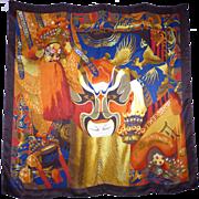 1990s Huali Chinese Opera Print Silk Scarf Large