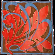 Vintage 1980s Maxims Paris Silk Scarf Abstract Leaf Design