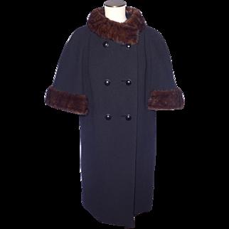 Vintage 1960s Dan Millstein Black Wool Coat Cape Style Mink Fur Trim