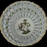 """Herend Reticulated Basket Rothschild Bird Pattern 1940""""s"""
