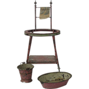 Vintage Doll House Doll Painted Tin Wash Stand, Basin & Bucket