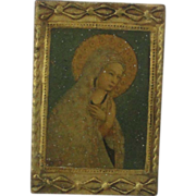 Miniature Religious Icon Gold Gilt Gesso On Wood Of Mary, Decoupage Style