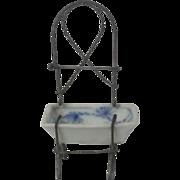 Miniature German Wire Work Washstand With Blue Onion Pattern Basin Dollhouse