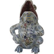Antique French Faience Whimsical Frog Sitting From By Desvres