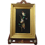 Vintage Pietra Dura Framed Plaque Of Birds