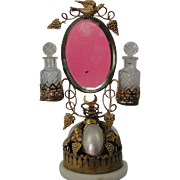 Antique French Palais Mother of Pearl Shell & Ormolu Mirrored Perfume With Bell