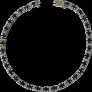 14K Blue Sapphire and Diamond White & Yellow Gold Tennis Bracelet