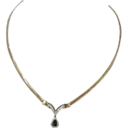 14K Gold Sapphire And Diamond Pendant Necklace with Herringbone Chain