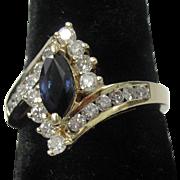 14 Blue Sapphire & Diamond Ring Size 7 1/8
