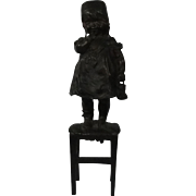 Juan Clara Bronze Figure Girl Child On Stool C1900
