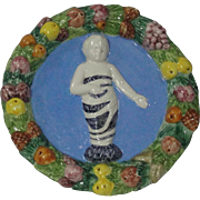 Italian Della Robbia Swaddled Jesus Wreath Plaque