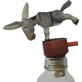 Anri Mechanical Wooden Cork Donkey