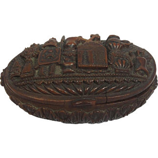Brazalian Palm Coquilla Nut French Snuff Box 19th Century