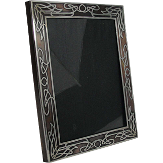 Arts and Crafts Silver Over Copper Overlay Picture Frame