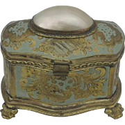 Exquisite Mother of Pearl Shell And Enameled Ormolu Jewelry Box Casket