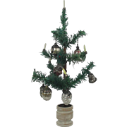 "Antique German 13 1/2"" Feather Tree With Ornaments"