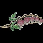 Krementz 14K Gold Enameled Brooch/Pin With Bleeding Hearts & Pearls
