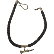Victorian Hair Watch Chain With Key Watch Fob
