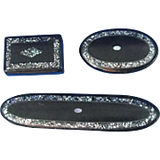 Victorian Black Laquer Mother Of Pearl Glass Cases And Snuff Box