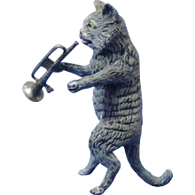 Cold Painted Spelter Cat Playing Bugle