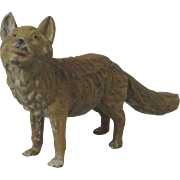 Cold Painted Hollow Cast Metal Fox