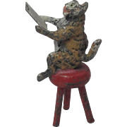 Cold Painted Spelter Miniature Singing Cat On A Stool