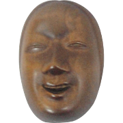 Signed Finely Carved Netsuke Noh Mask