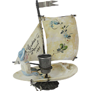 Mother Of Pearl Sail Boat Thimble Holder With Bisque Figure