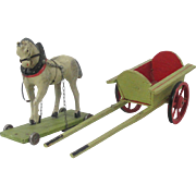 Papier Paper Mache Toy Horse on Wheels With Cart