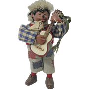 "Miniature ""Macky"" Steiff Hedgehog Musician Playing Guitar"