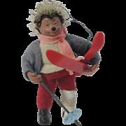 "Miniature ""Macky"" Steiff Hedgehog Skier"