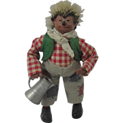 "Miniature ""Mackey"" Steiff Hedgehog Gardener With Watering Can"