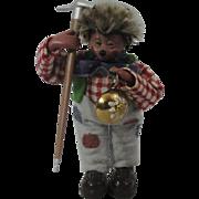 """Miniature """"Mackey"""" Steiff Hedgehog Miner With Pick"""