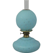 Blue Satin Mother Of Pearl Glass Rain Drop Pattern Miniature Oil/Kerosene Lamp