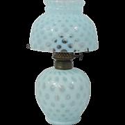 Fenton Blue Opalescent Glass Coin Dot Miniature Oil/Kerosene Lamp
