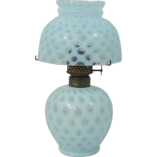 Fenton Blue Opalescent Glass Coin Dot Miniature Oil/Kerosene Lamp
