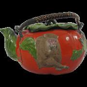 Japanese Banko Teapot Hear No, See No, Speak No Evil Monkeys