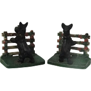 Pair Hubley Cast Iron Scottie Dogs On Fence Bookends