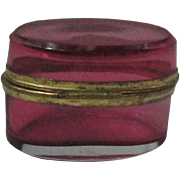 Miniature Antique Cranberry Glass Dresser Box Casket For French Fashion Doll