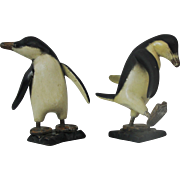 Vintage Folk Art Carved Wood Penguins Hand Painted Pair