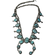 Native American Turquoise & Sterling Squash Blossom Necklace