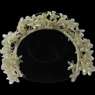 Vintage Wax Floral Wedding Crown Tiara  Veil