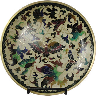 Beautiful Robert Kuo Japanese Cloisonne Plate With Butterfly Decoration