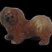 Vintage Cast Iron Pekingese Dog Place Card Holder