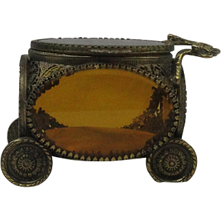 Vintage Ormolu Carriage Jewelry Casket Vitrine Box With Beveled Amber Glass