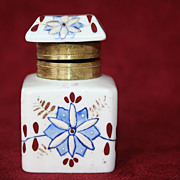 Antique Blue and White Floral Porcelain Inkwell - Red Tag Sale Item